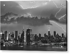 Nyc All Charged Up Bw Acrylic Print by Susan Candelario