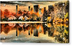 Nyc At Sunset Acrylic Print by Anthony Caruso