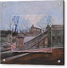 Nyc Bethesda Stairs Layered Acrylic Print by Anita Burgermeister