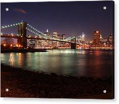 Nyc Brooklyn Nights Acrylic Print by Nina Papiorek