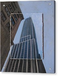 Nyc Severe Empire Layered Acrylic Print by Anita Burgermeister
