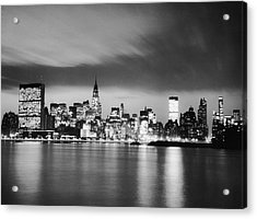 Nyc Skyline At Night Acrylic Print by George Marks