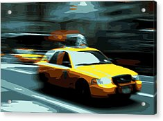 Nyc Taxi Color 16 Acrylic Print by Scott Kelley