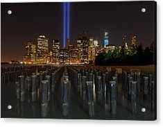 Nyc Tribute Lights - The Pier Acrylic Print by Shane Psaltis