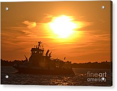 Nyfd On Bay At Sunset 3 Acrylic Print by Artie Wallace