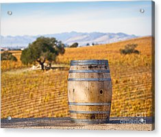 Oak Barrel At Vineyard Acrylic Print by David Buffington