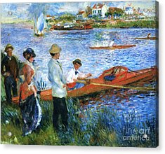 Oarsmen At Chatoli Acrylic Print by Pg Reproductions