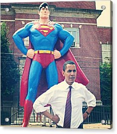 #obama And His #superman #alter-ego Acrylic Print