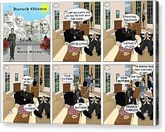 Obama N Freud II Acrylic Print by Kevin  Marley