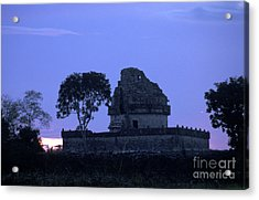 Acrylic Print featuring the photograph Obervatory At Sunset Chichen Itza Mexico by John  Mitchell