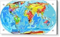 Ocean Currents World Map Acrylic Print by David Lloyd Glover