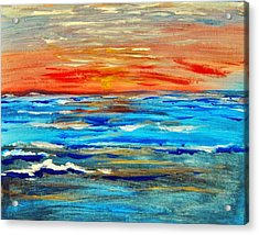 Acrylic Print featuring the painting Ocean Sunset by Amanda Dinan