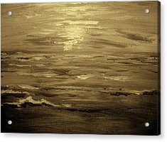 Acrylic Print featuring the painting Ocean Sunset Blk Wht by Amanda Dinan