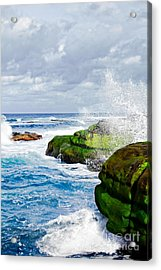 Ocean Wave Breaks On La Jolla California's Pacific Coast Acrylic Print by Susan McKenzie