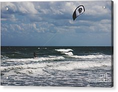 October Beach Kite Surfer Acrylic Print by Susanne Van Hulst