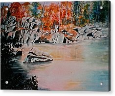October On The Little Wolf River Acrylic Print by Carolyn Rosenberger