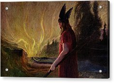 Odin Leaves As The Flames Rise Acrylic Print by H Hendrich