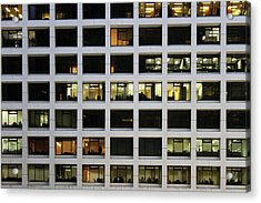 Office Building At Night Acrylic Print by Lars Ruecker