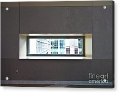 Office Buildings Seen Through Window Acrylic Print by Dave & Les Jacobs