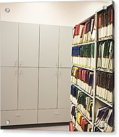 Office Cabinets And Colorful Files Acrylic Print by Jetta Productions, Inc