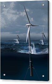 Offshore Wind Farm In A Storm, Artwork Acrylic Print by Claus Lunau