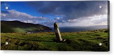 Ogham Stone At Dunmore Head, Dingle Acrylic Print by The Irish Image Collection