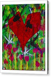 Oh My Green Heart Acrylic Print by Donna Daugherty