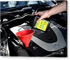 Oil Change Acrylic Print by Photo Researchers