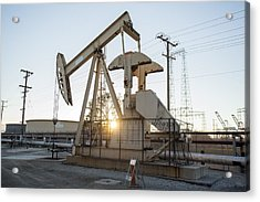 Oil Derrick Acrylic Print by Mike Raabe