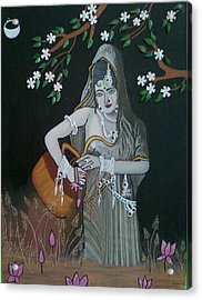 Oil Painting...a Lady With Pitcher Acrylic Print by Priyanka Rastogi