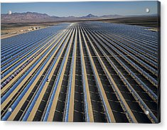 Oil Piped Down Long Rows Of Reflectors Acrylic Print by Michael Melford