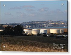 Oil Refinery Industrial Plant And Martinez Benicia Bridge In Martinez California . 7d10388 Acrylic Print by Wingsdomain Art and Photography