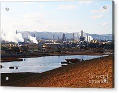 Oil Refinery Industrial Plant In Martinez California . 7d10393 Acrylic Print by Wingsdomain Art and Photography