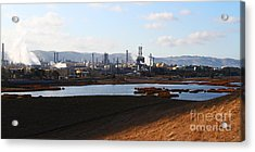Oil Refinery Industrial Plant In Martinez California . 7d10398 Acrylic Print by Wingsdomain Art and Photography