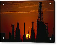 Oil Refinery Silhouetted Acrylic Print by Paul Chesley