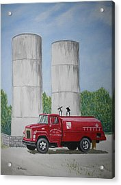 Acrylic Print featuring the painting Oil Truck by Stacy C Bottoms