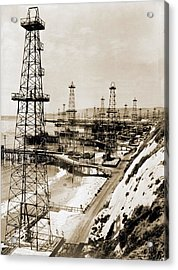 Oil Well Derricks On The Beach Acrylic Print by Everett