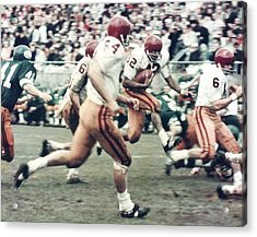 Oj Simpson Carrying The Ball At Oregon Acrylic Print