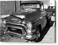 Old American Gmc Truck . 7d10665  . Bw Acrylic Print by Wingsdomain Art and Photography