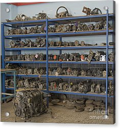 Old Automobile Parts On Shelves Acrylic Print by Noam Armonn