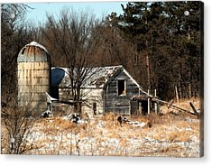 Old Barn And Silo Acrylic Print by Steven Clipperton