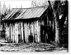 Old Barn In Black And White Acrylic Print by Ronald T Williams