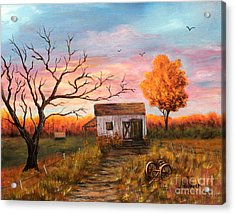Acrylic Print featuring the painting Old Barn Painting At Sunset by Judy Filarecki