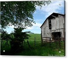 Old Barn With Beautiful Sky Acrylic Print by Timothy Hudson