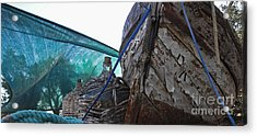 Old Boat And Flagons Acrylic Print by Andy Prendy