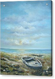 Acrylic Print featuring the painting Old Boat Beached by Katalin Luczay