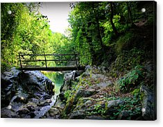 Old Bridge  In The Mountain Acrylic Print by Radoslav Nedelchev