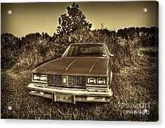Old Car In Field Acrylic Print by Dan Friend