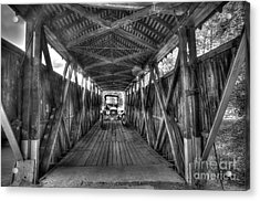 Old Car On Covered Bridge Acrylic Print by Dan Friend