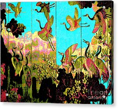 Old Chinese Screen Acrylic Print
